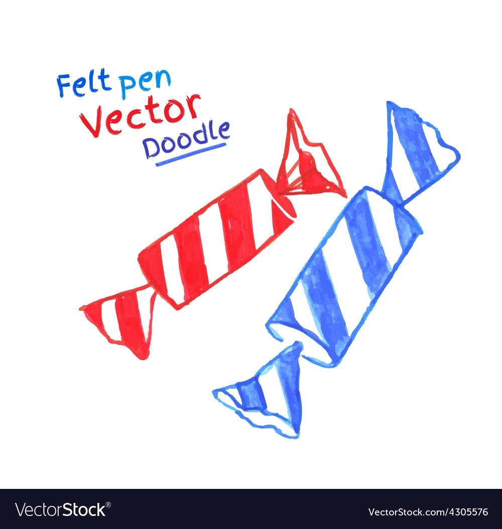 Felt pen drawing of candies vector | Price: 1 Credit (USD $1)