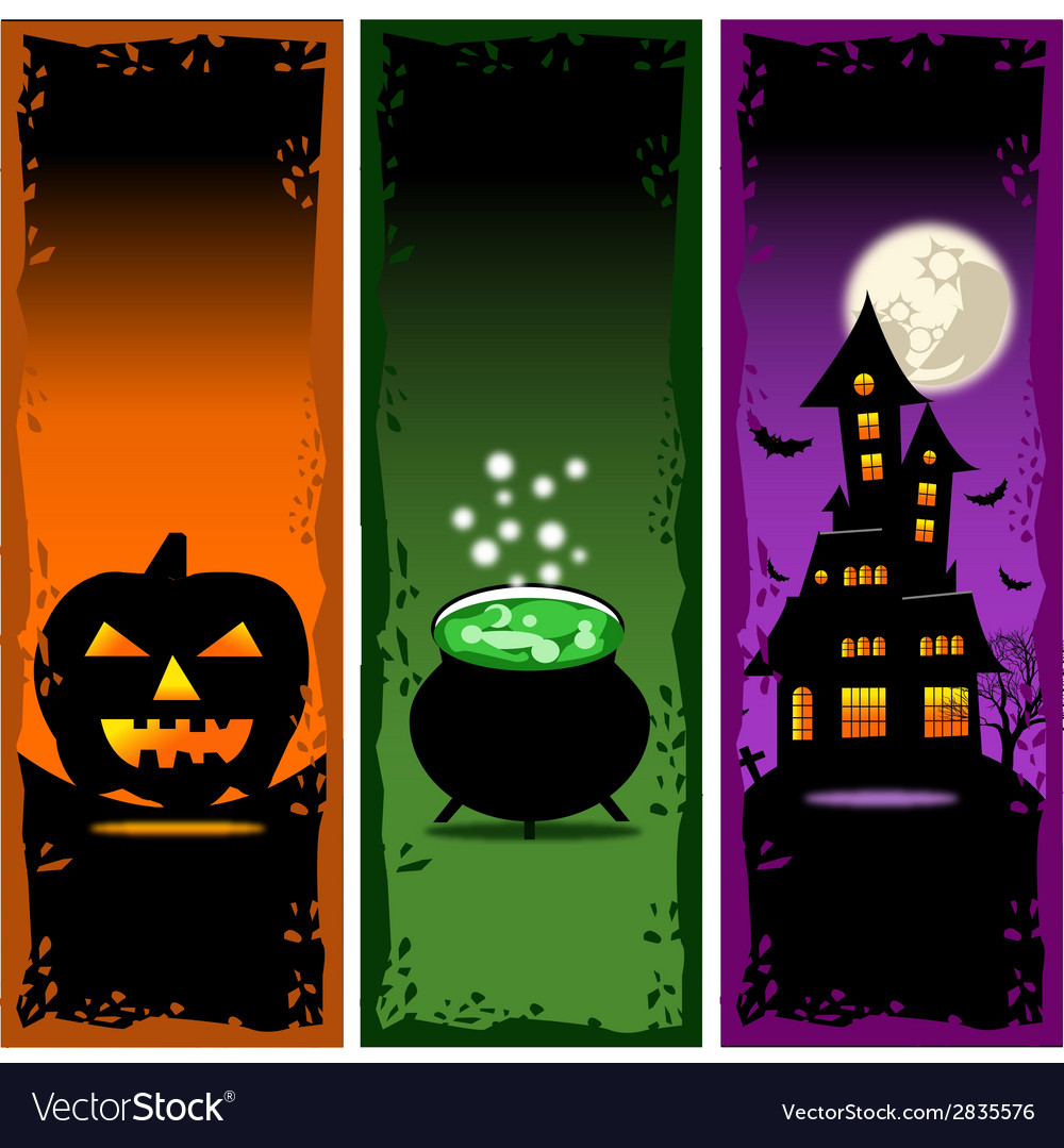 Halloween banners set 2 vector | Price: 1 Credit (USD $1)