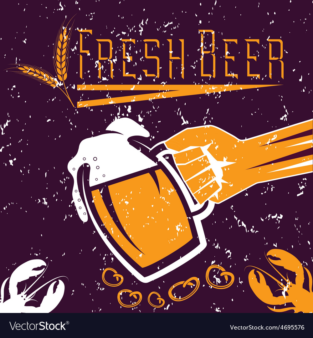 Hand with a glass of beer on grunge background vector | Price: 1 Credit (USD $1)