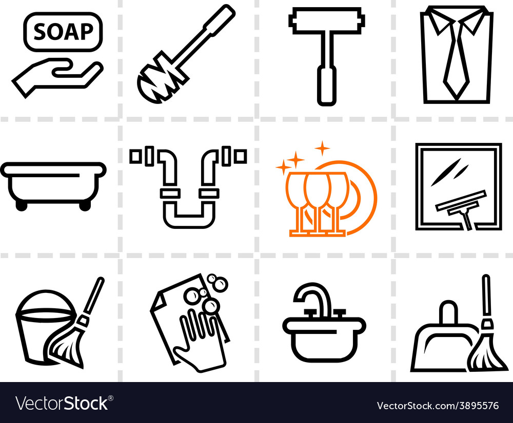 Icons set cleaning vector | Price: 1 Credit (USD $1)