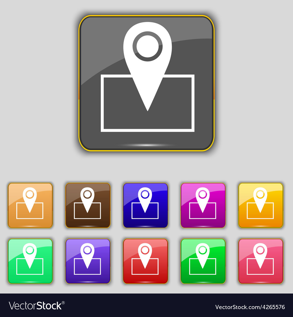Map pointer icon sign set with eleven colored vector | Price: 1 Credit (USD $1)