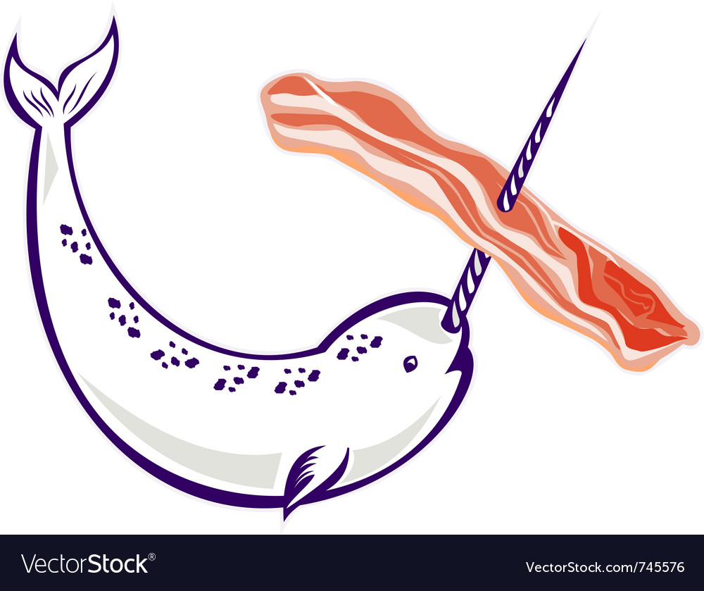 Narwhal whale bacon vector | Price: 1 Credit (USD $1)