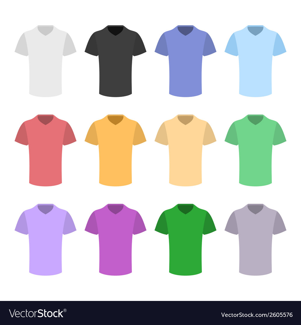 Plain t-shirt color template set in flat design vector | Price: 1 Credit (USD $1)