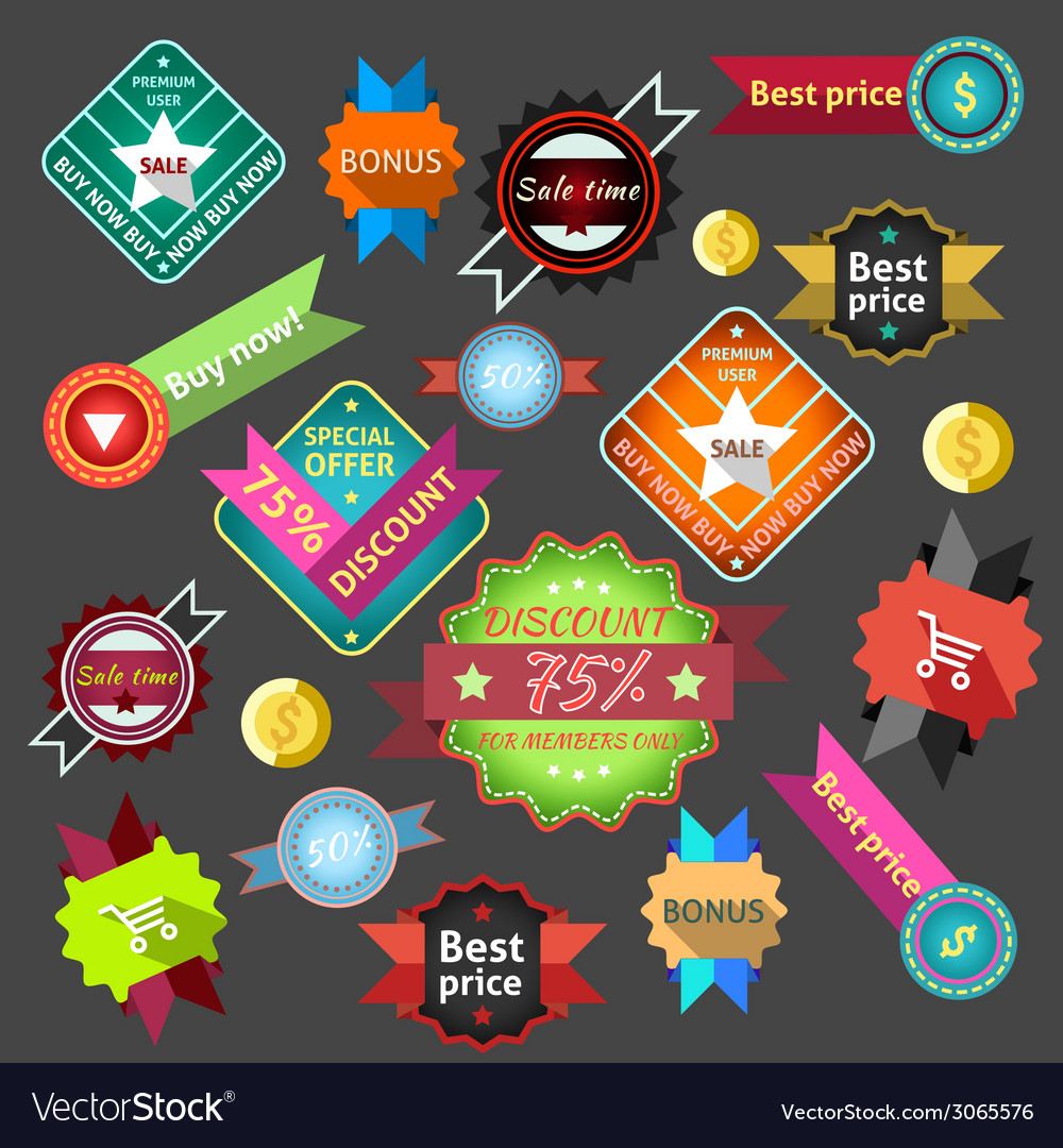 Sale labels colored vector | Price: 1 Credit (USD $1)