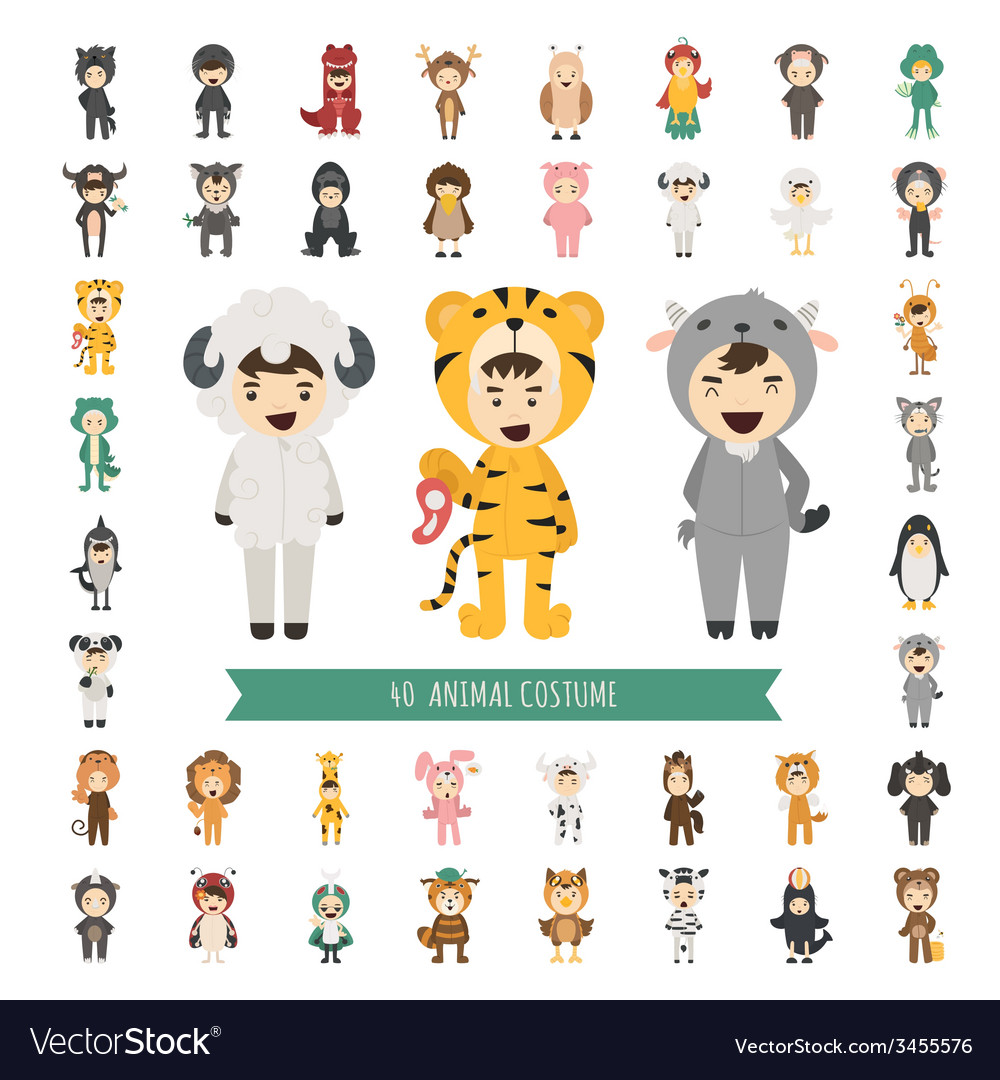Set of 40 animal costume characters vector | Price: 1 Credit (USD $1)