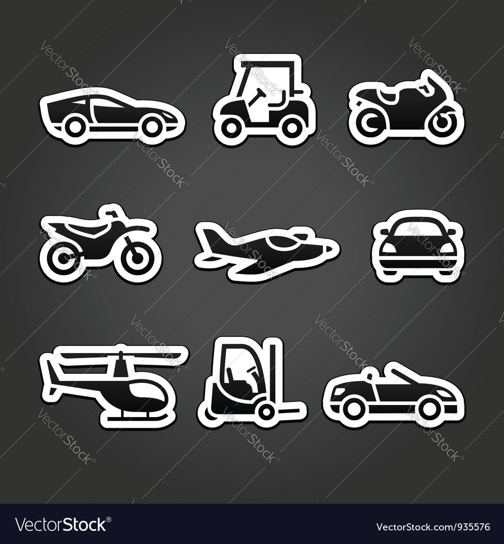 Set stickers transport icons vector | Price: 1 Credit (USD $1)