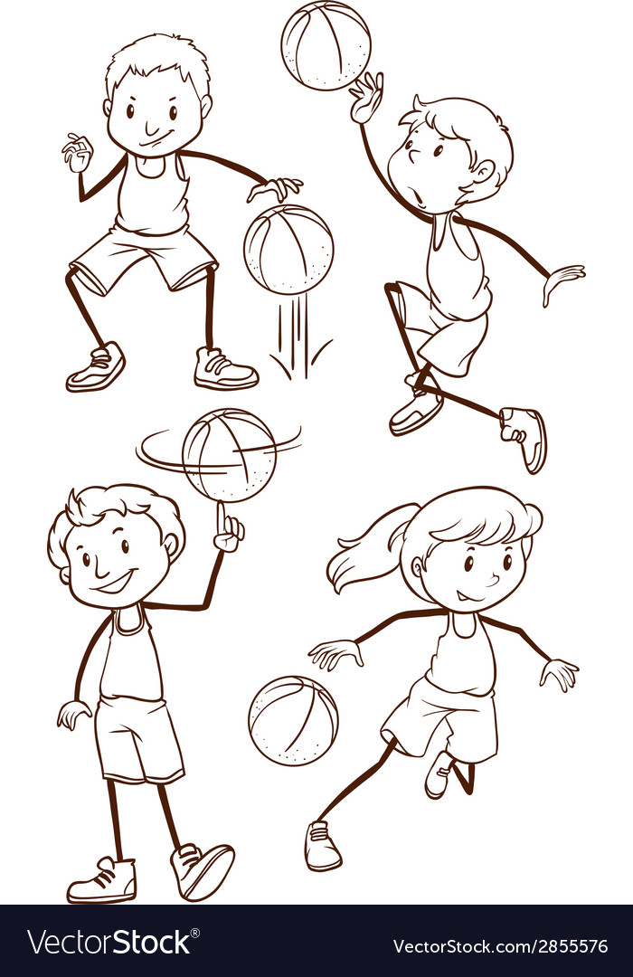 Simple sketches of basketball players vector | Price: 1 Credit (USD $1)