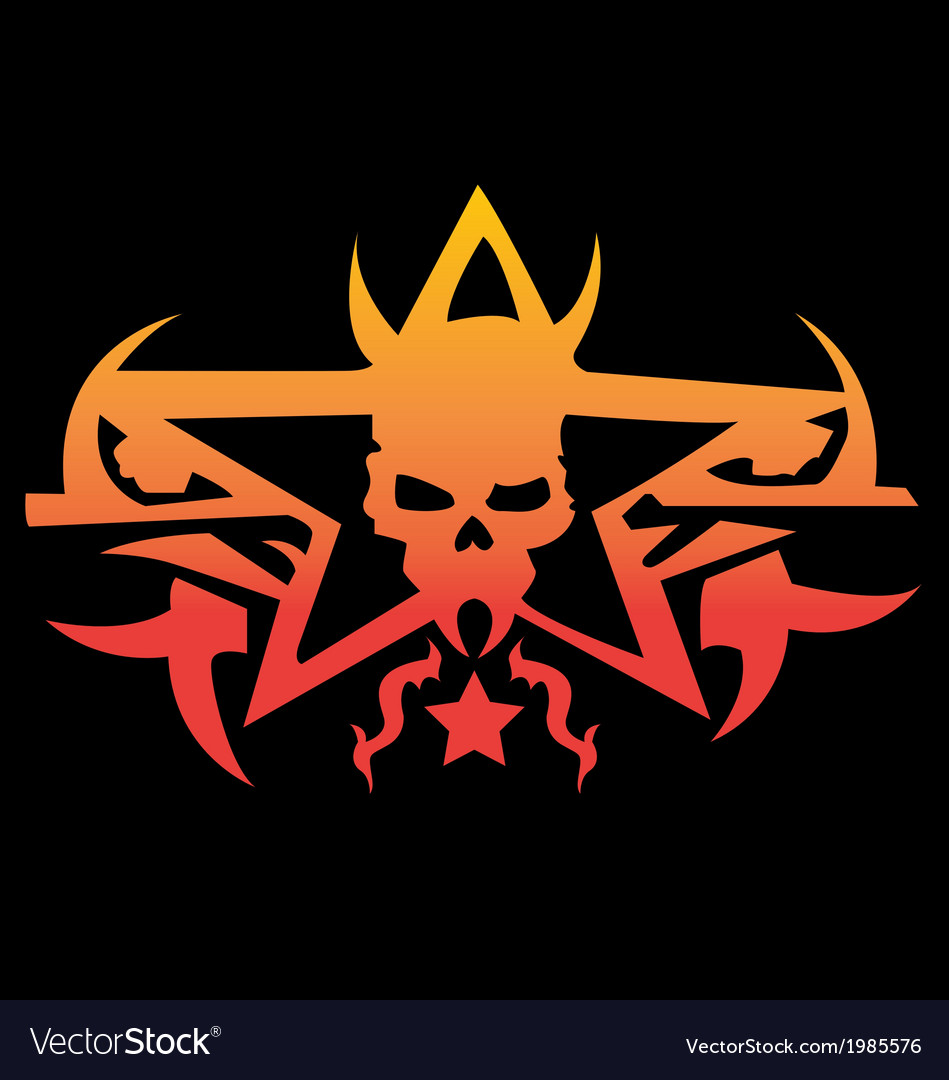 Winged human skull logo with swords vector | Price: 1 Credit (USD $1)