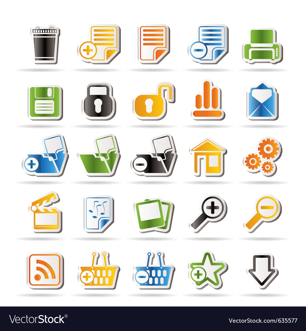 25 simple realistic detailed internet icons vector | Price: 1 Credit (USD $1)