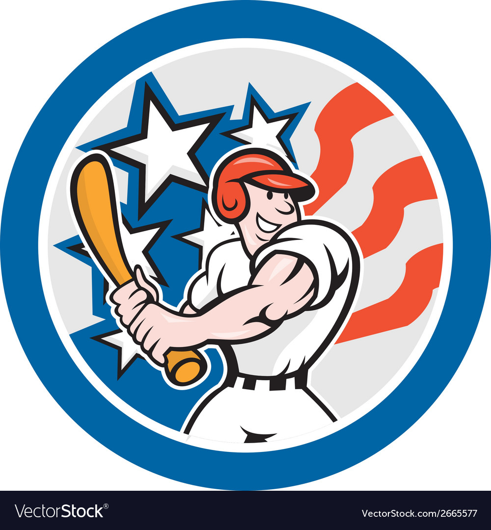 American baseball player batting circle cartoon vector | Price: 1 Credit (USD $1)
