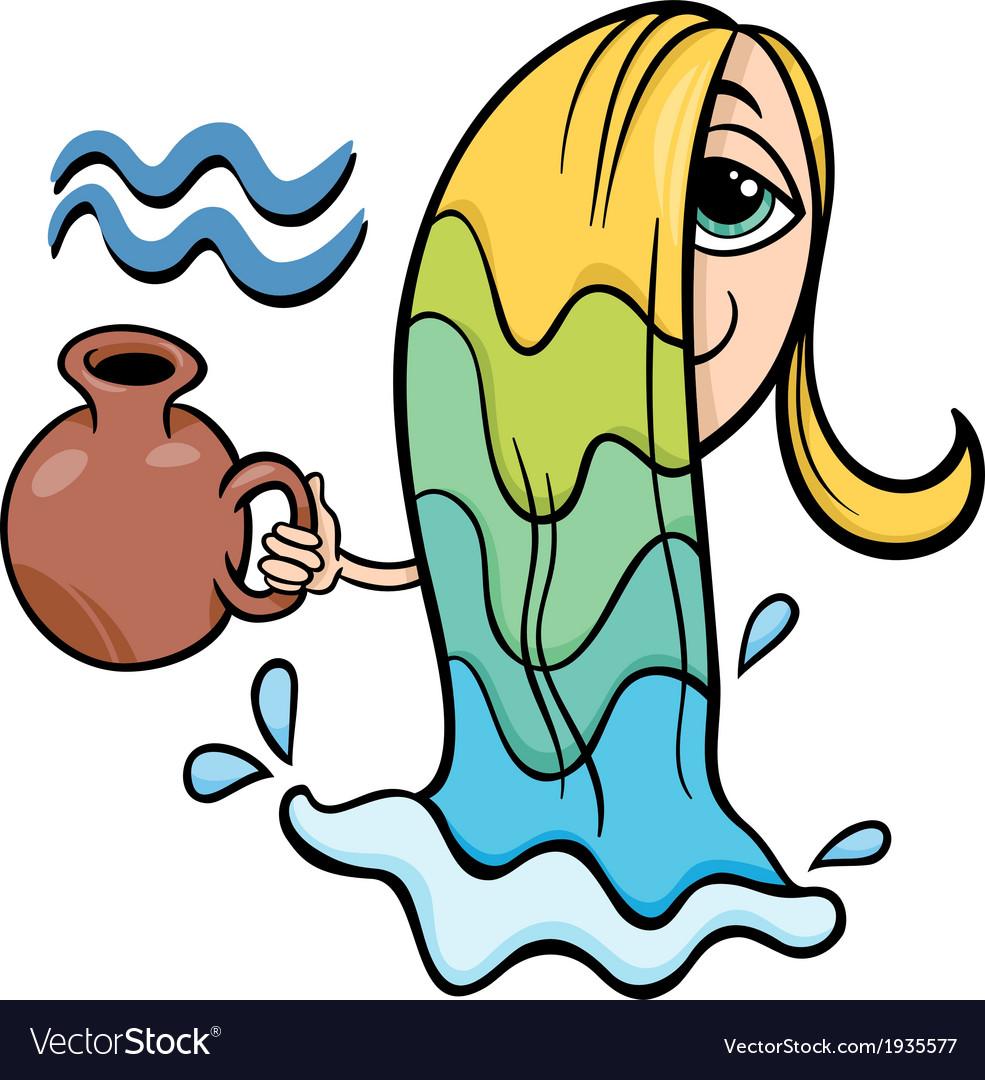 Aquarius zodiac sign cartoon vector | Price: 1 Credit (USD $1)