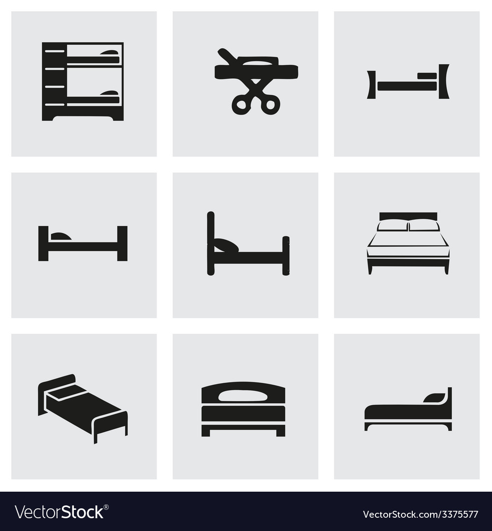 Bed icon set vector | Price: 1 Credit (USD $1)