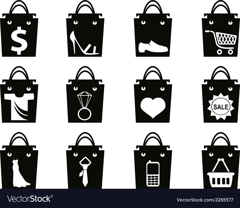 Black shopping bag icons set vector | Price: 1 Credit (USD $1)