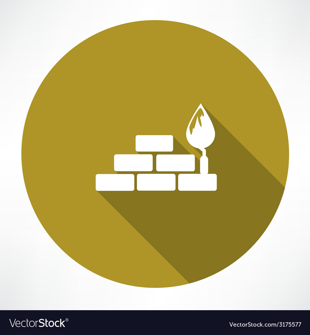 Bricks and trowel icon vector | Price: 1 Credit (USD $1)