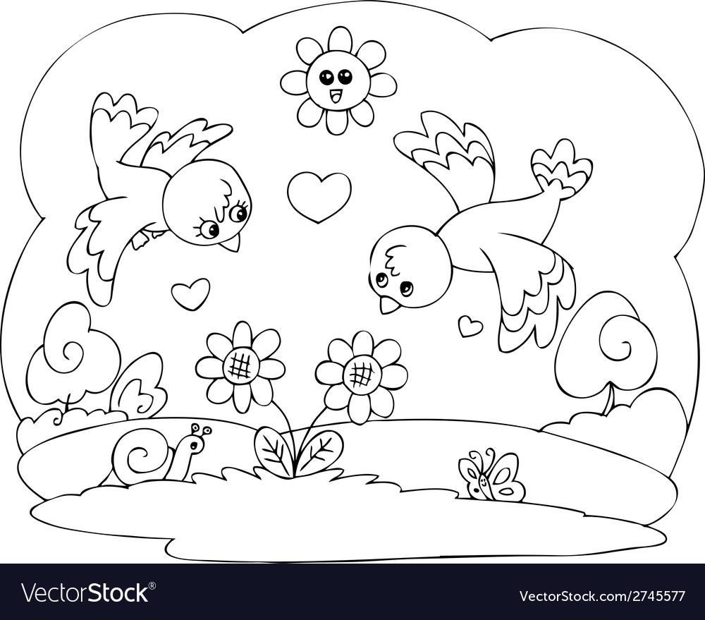 Coloring cute birds in love vector | Price: 1 Credit (USD $1)