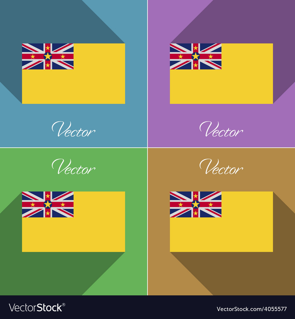 Flags niue set of colors flat design and long vector | Price: 1 Credit (USD $1)