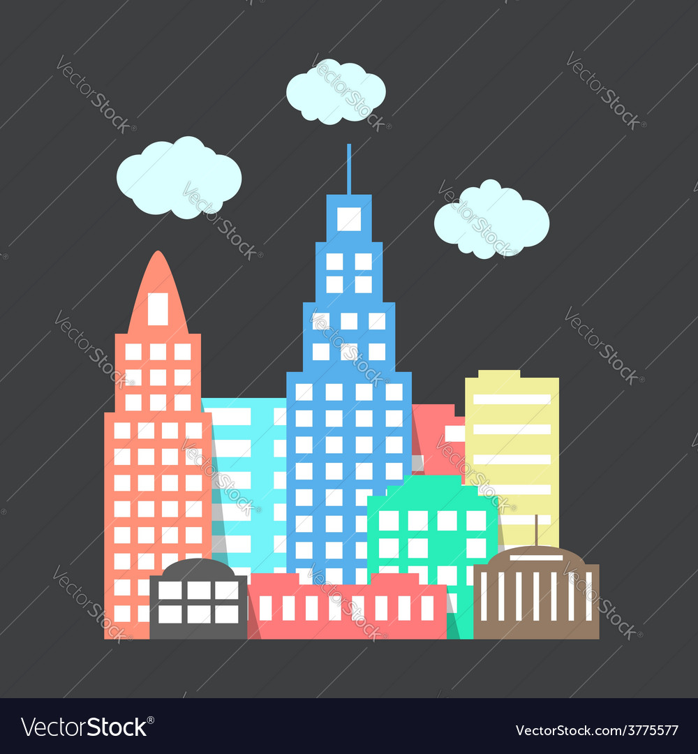 Flat style city with clouds on dark background vector | Price: 1 Credit (USD $1)