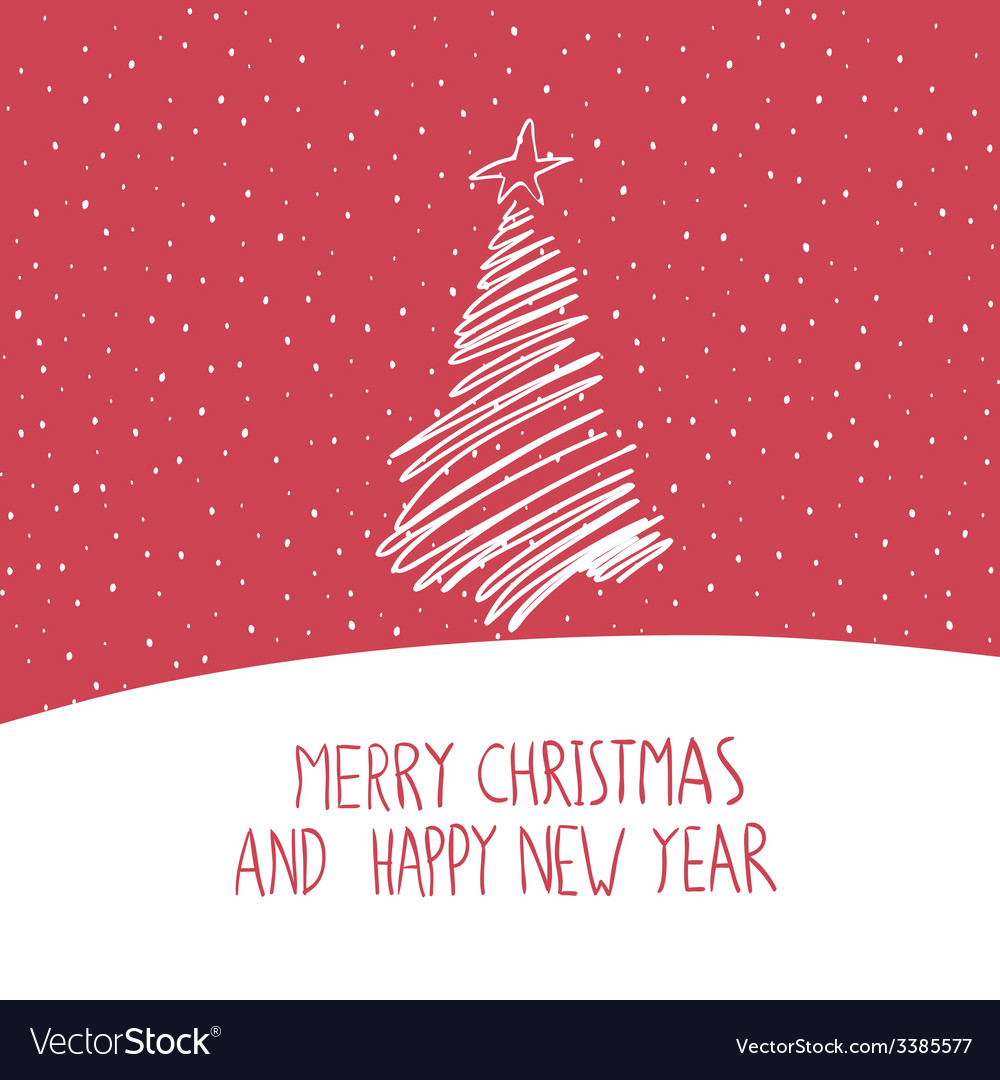 Hand drawn merry christmas card vector   Price: 1 Credit (USD $1)