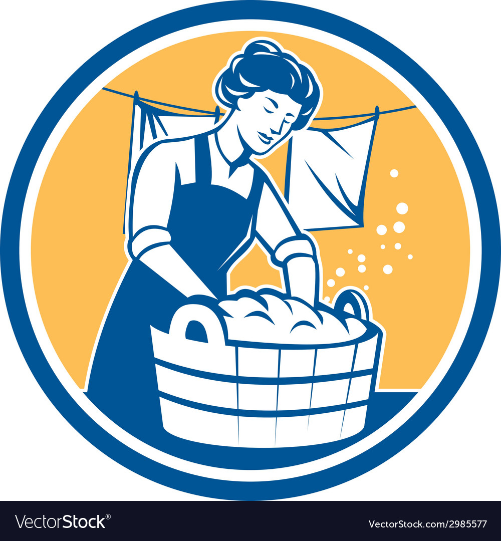Housewife washing laundry vintage circle vector | Price: 1 Credit (USD $1)