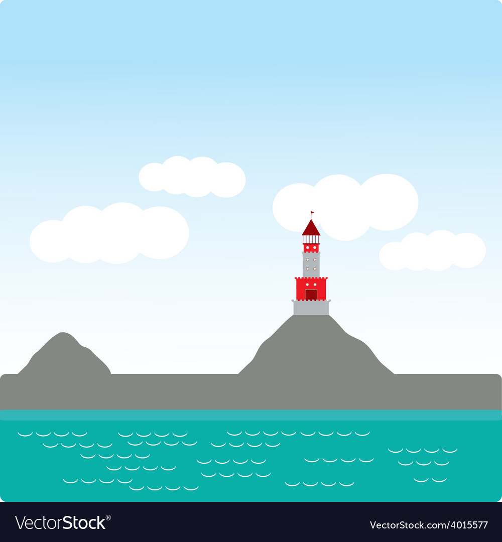 Lighthouse island ocean beach sea nautical vector | Price: 1 Credit (USD $1)