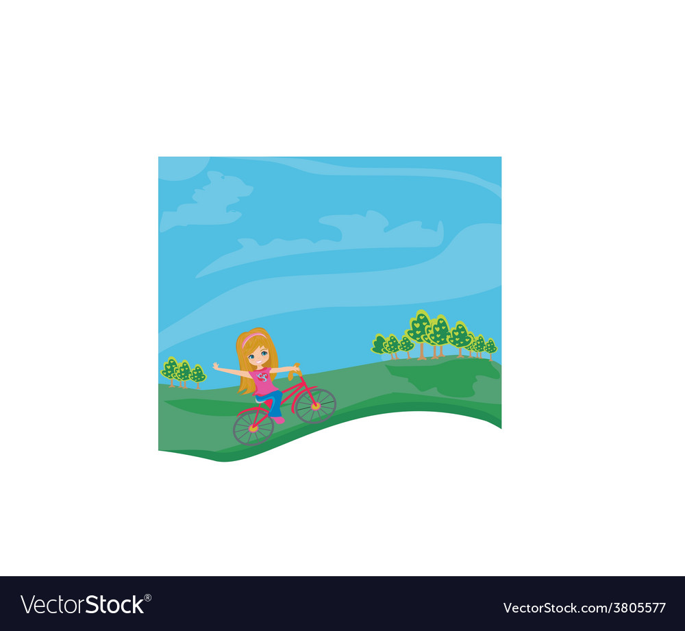 Little girl riding a bicycle vector | Price: 1 Credit (USD $1)
