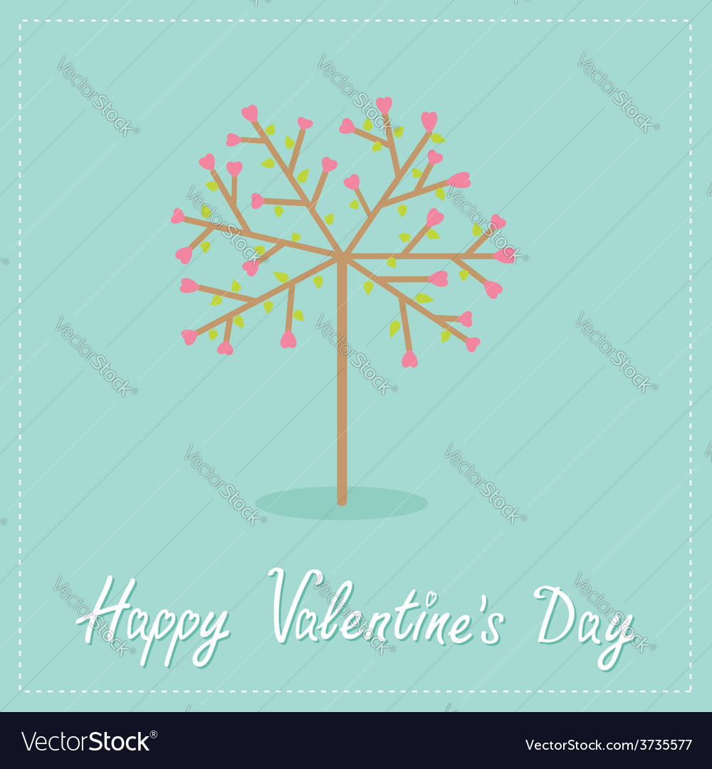 Love tree with hearts and leaves flat design vector