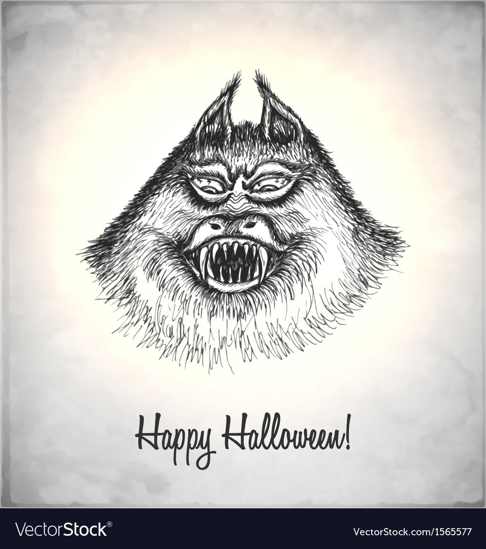 Scary monster in a sketch style vector | Price: 1 Credit (USD $1)