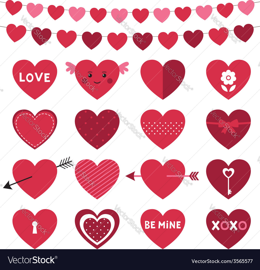 Valentines day decoration and hearts set vector | Price: 1 Credit (USD $1)