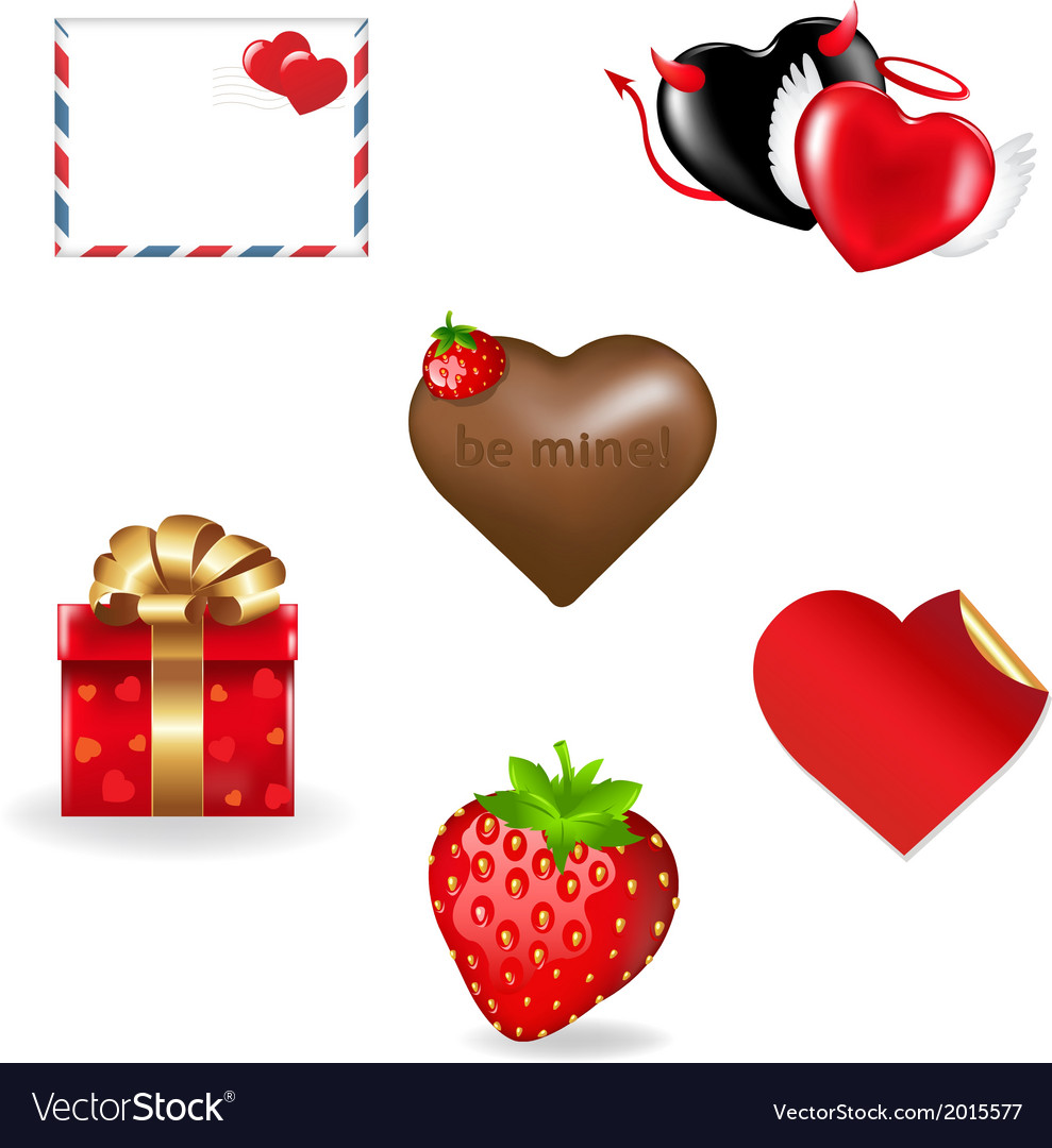 Valentines day icons collection vector | Price: 1 Credit (USD $1)