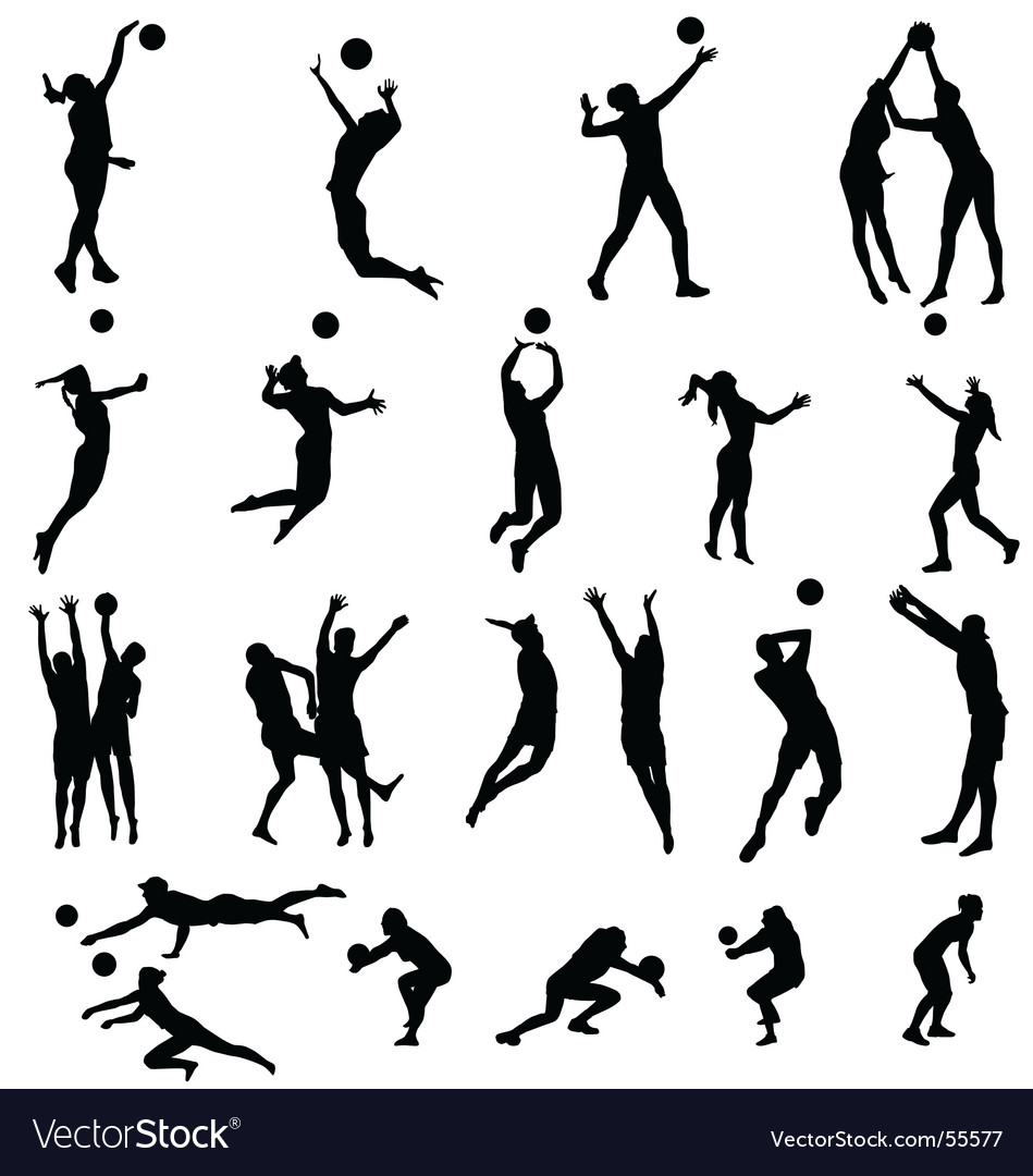 Volley silhouettes vector | Price:  Credit (USD $)