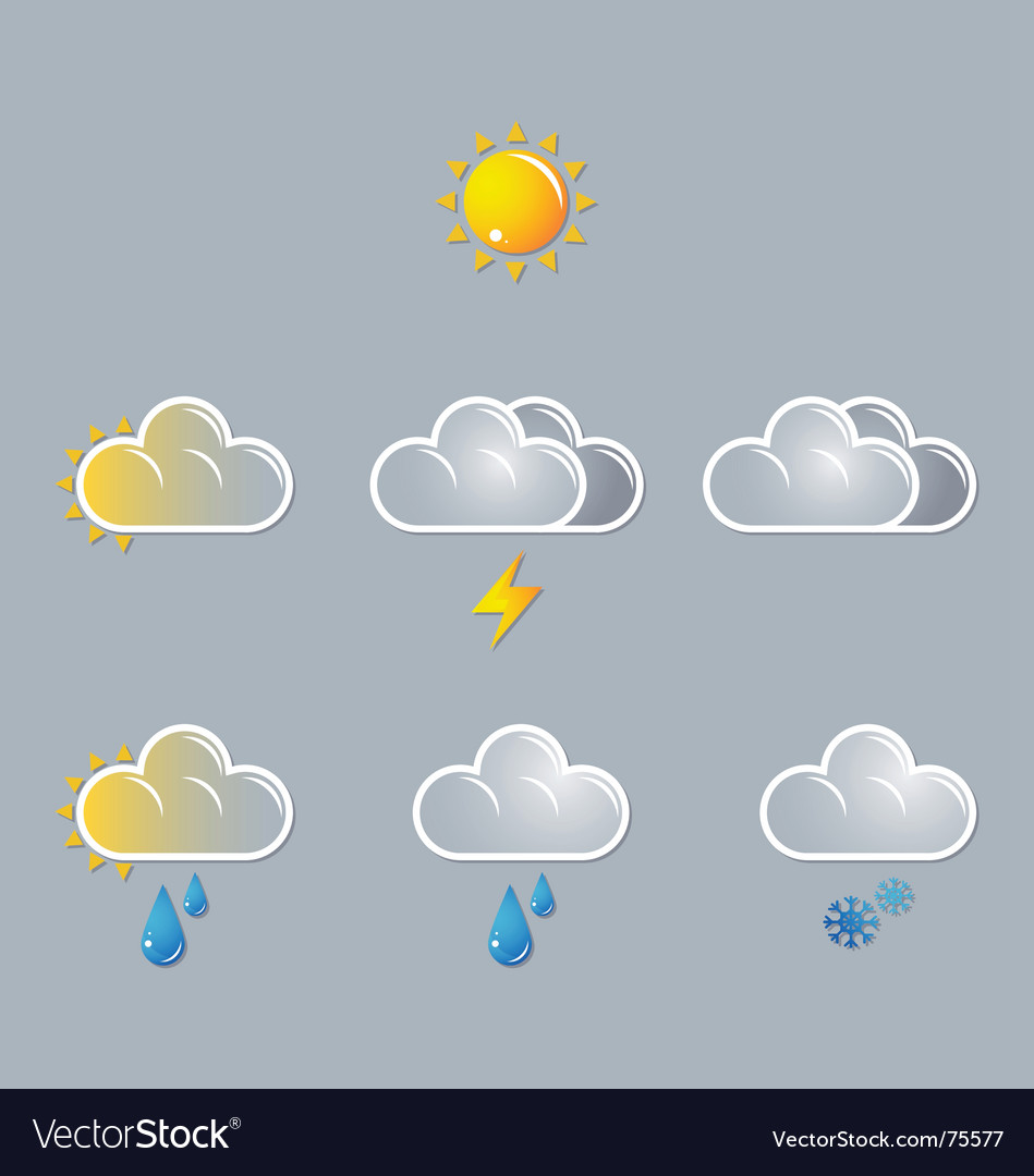 Webweather icons sun cloud vector | Price: 1 Credit (USD $1)