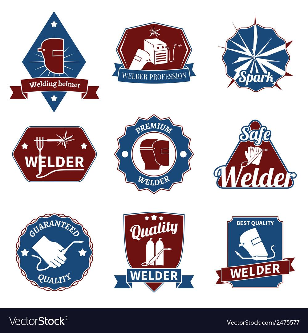 Welder labels set vector | Price: 1 Credit (USD $1)