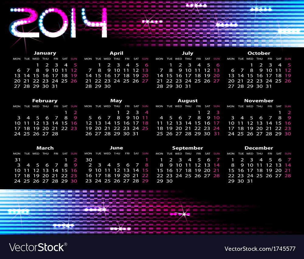 Year calendar vector | Price: 1 Credit (USD $1)