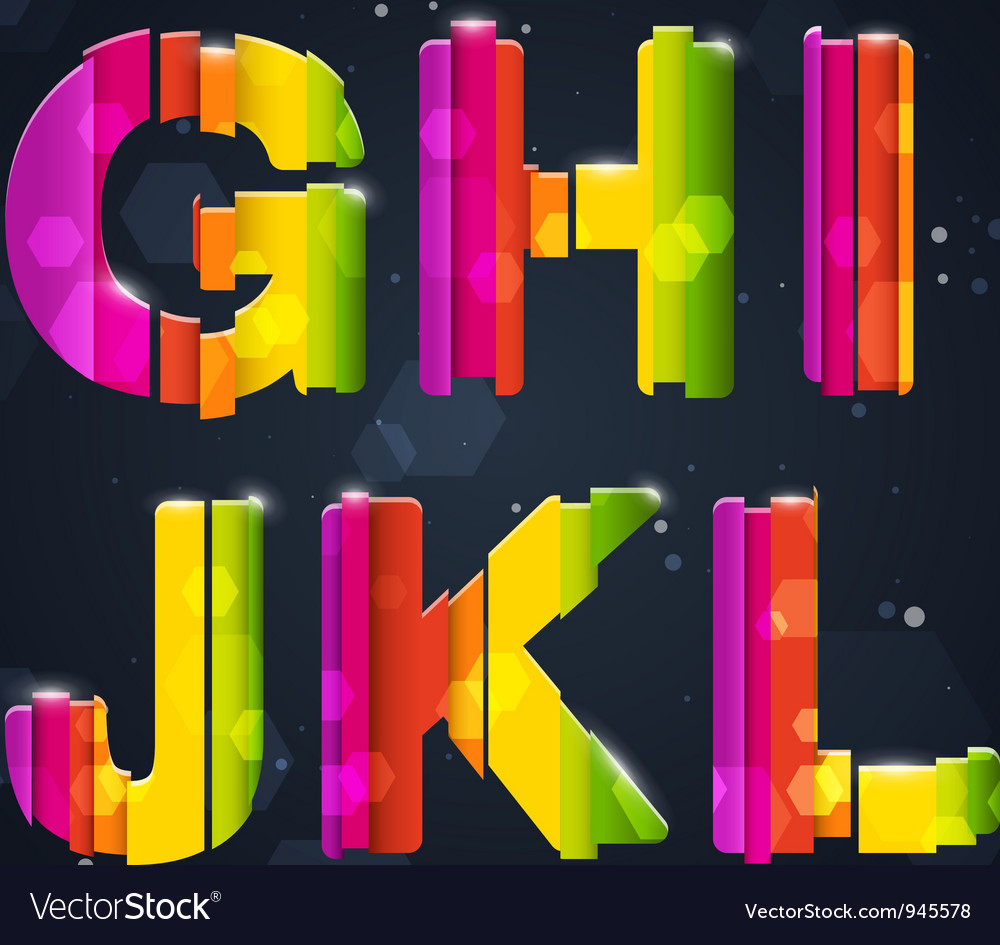 Abstract rainbow font g-l vector | Price: 3 Credit (USD $3)