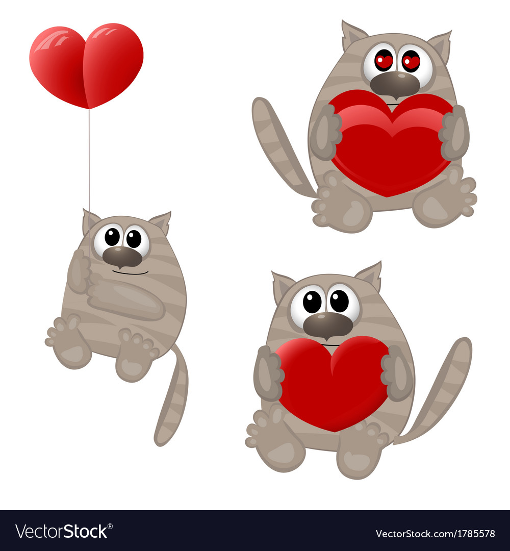 Funny animals with heart vector | Price: 1 Credit (USD $1)