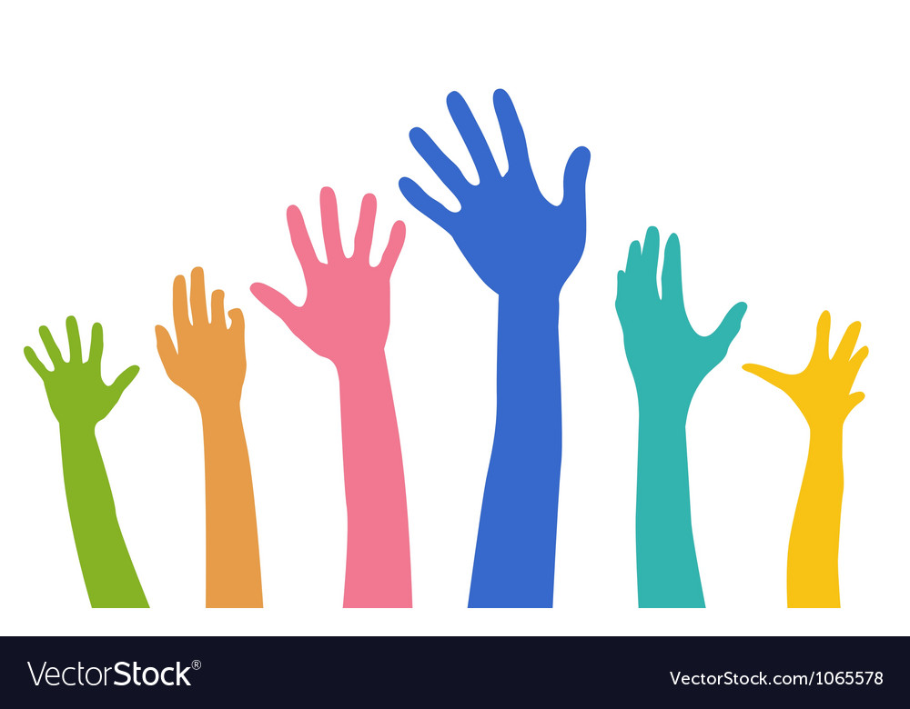 Hands of different colors vector | Price: 1 Credit (USD $1)
