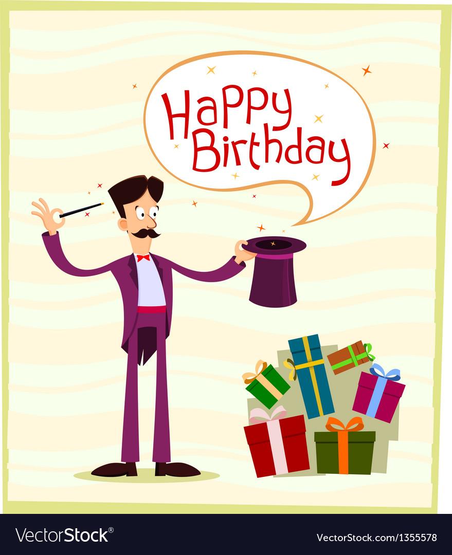 Magician birthday greeting vector | Price: 1 Credit (USD $1)