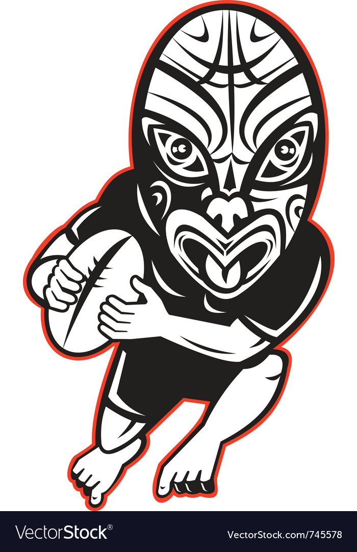 Maori rugby player running vector | Price: 1 Credit (USD $1)