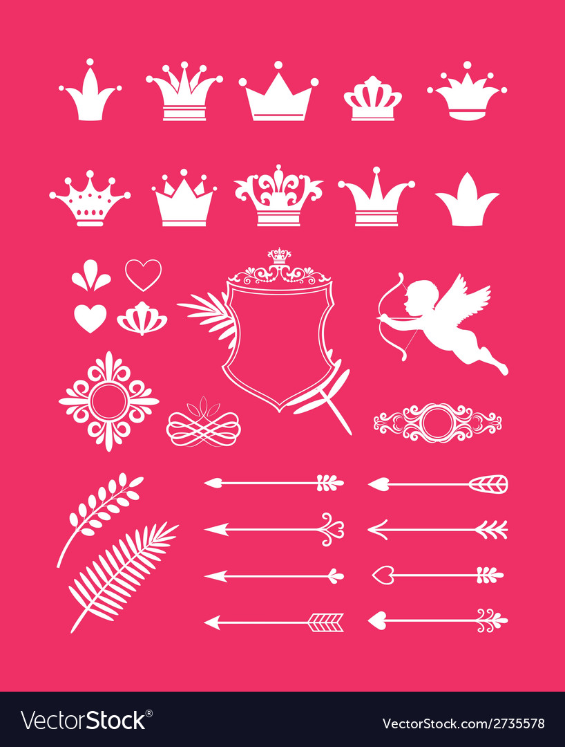 Pink decor with crowns vector | Price: 1 Credit (USD $1)