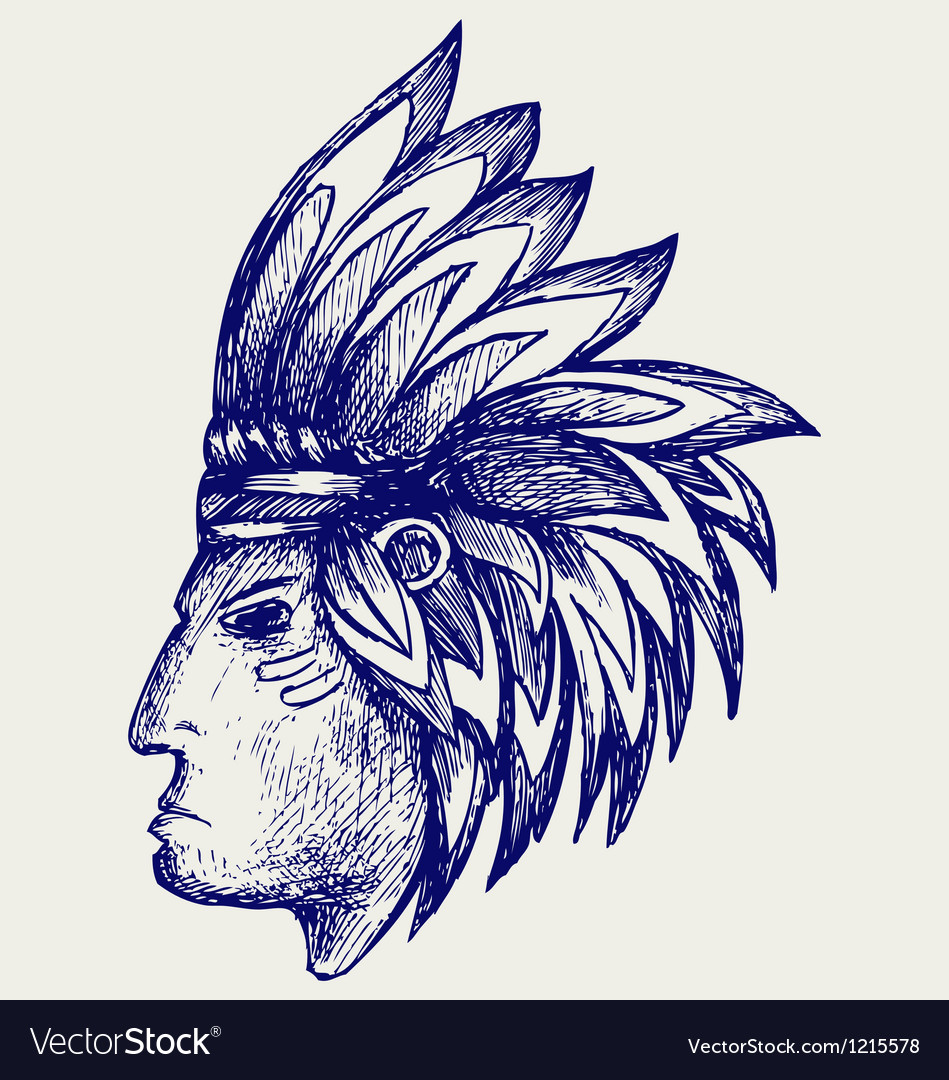 Portrait of american indian vector | Price: 1 Credit (USD $1)