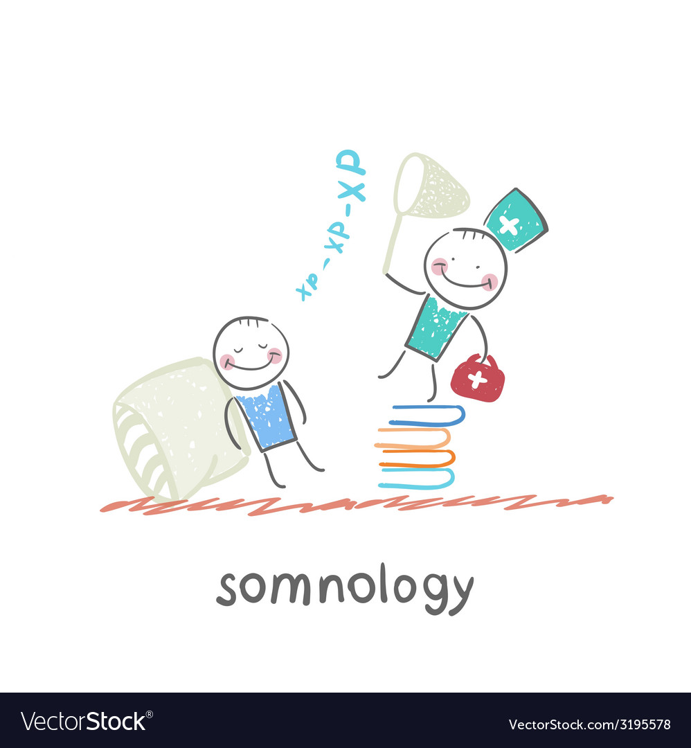 Somnology standing on a pile of books and catches vector   Price: 1 Credit (USD $1)