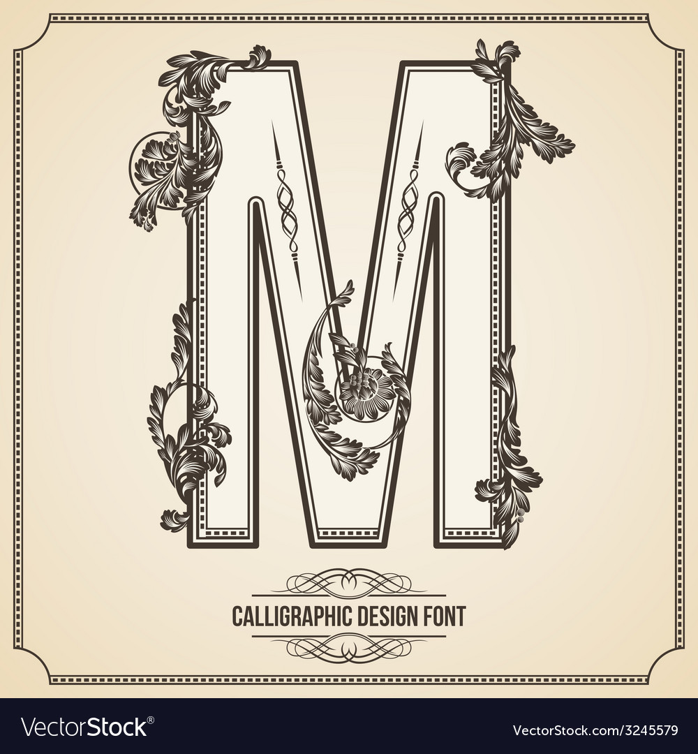 Calligraphic font letter m vector | Price: 1 Credit (USD $1)