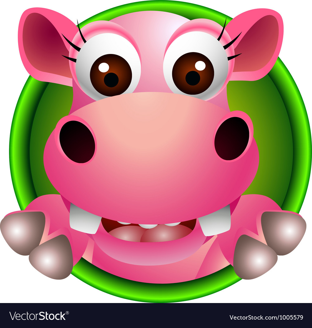 Cute hippo head cartoon vector | Price: 1 Credit (USD $1)