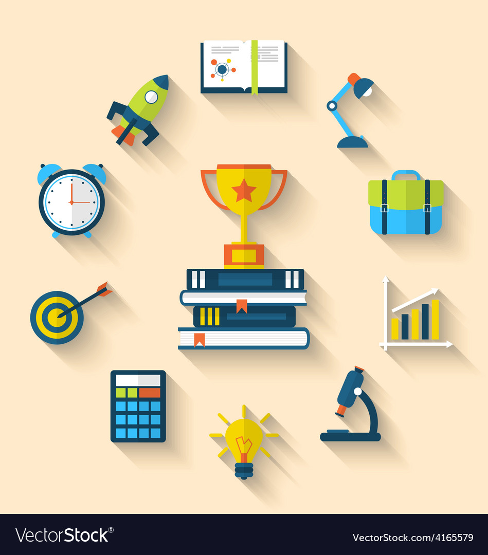 Flat icons of graduation and objects for high vector | Price: 1 Credit (USD $1)