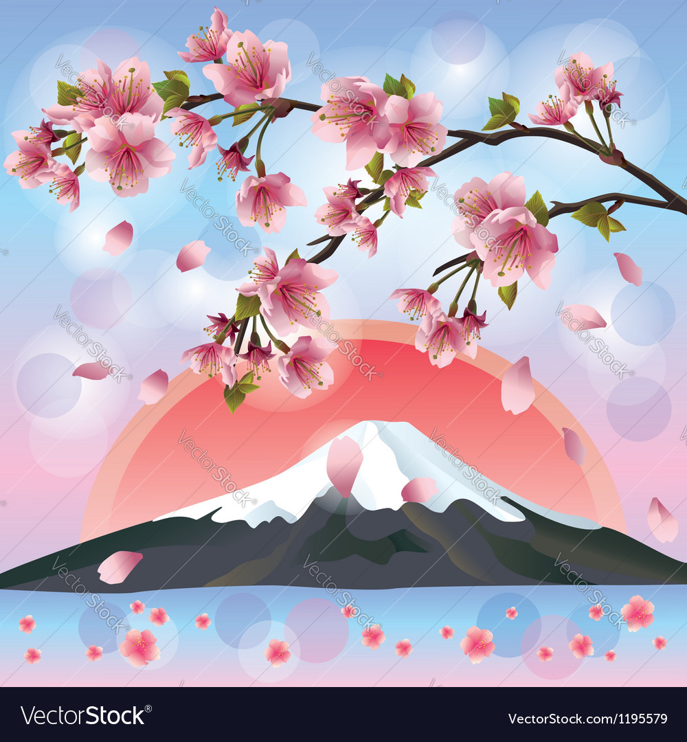 Japanese landscape with mountain and sakura vector | Price: 1 Credit (USD $1)