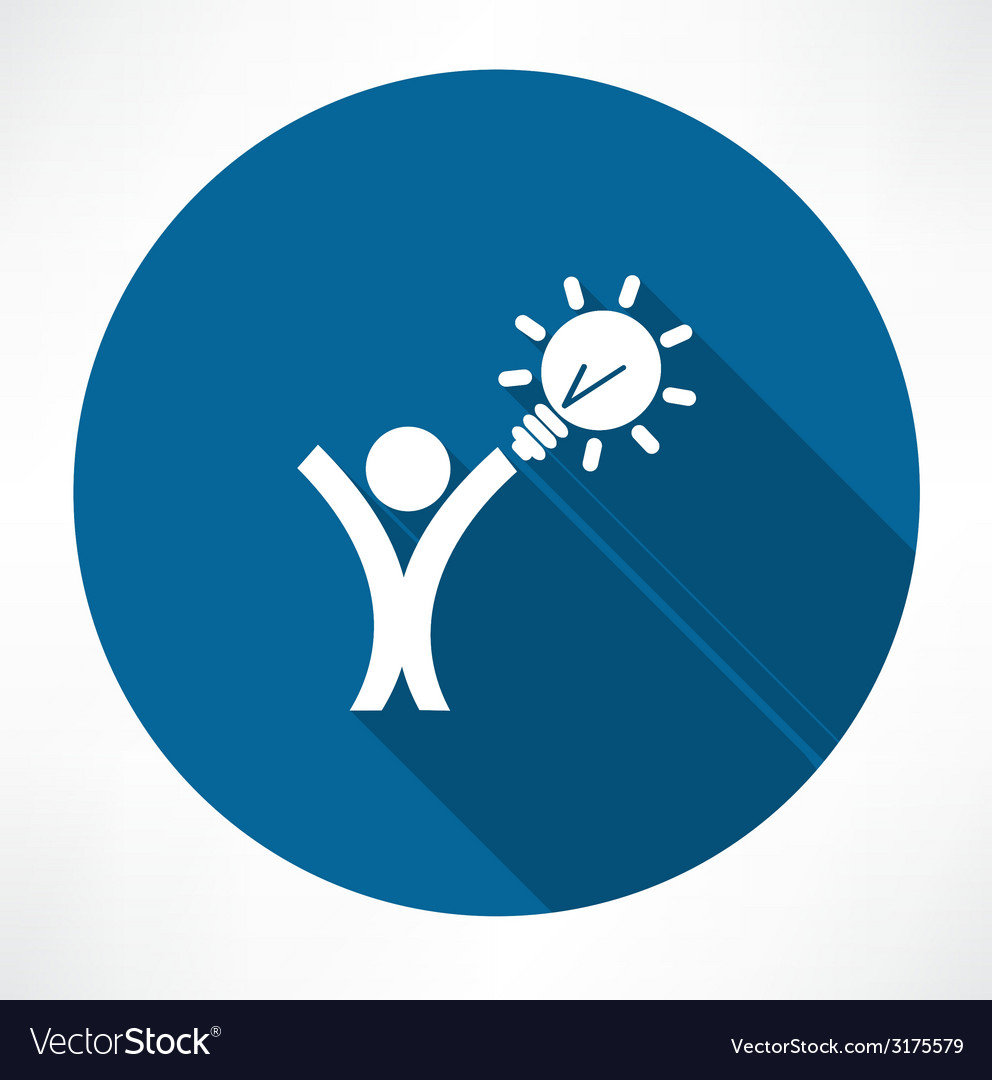 Man with the idea in hand icon vector | Price: 1 Credit (USD $1)