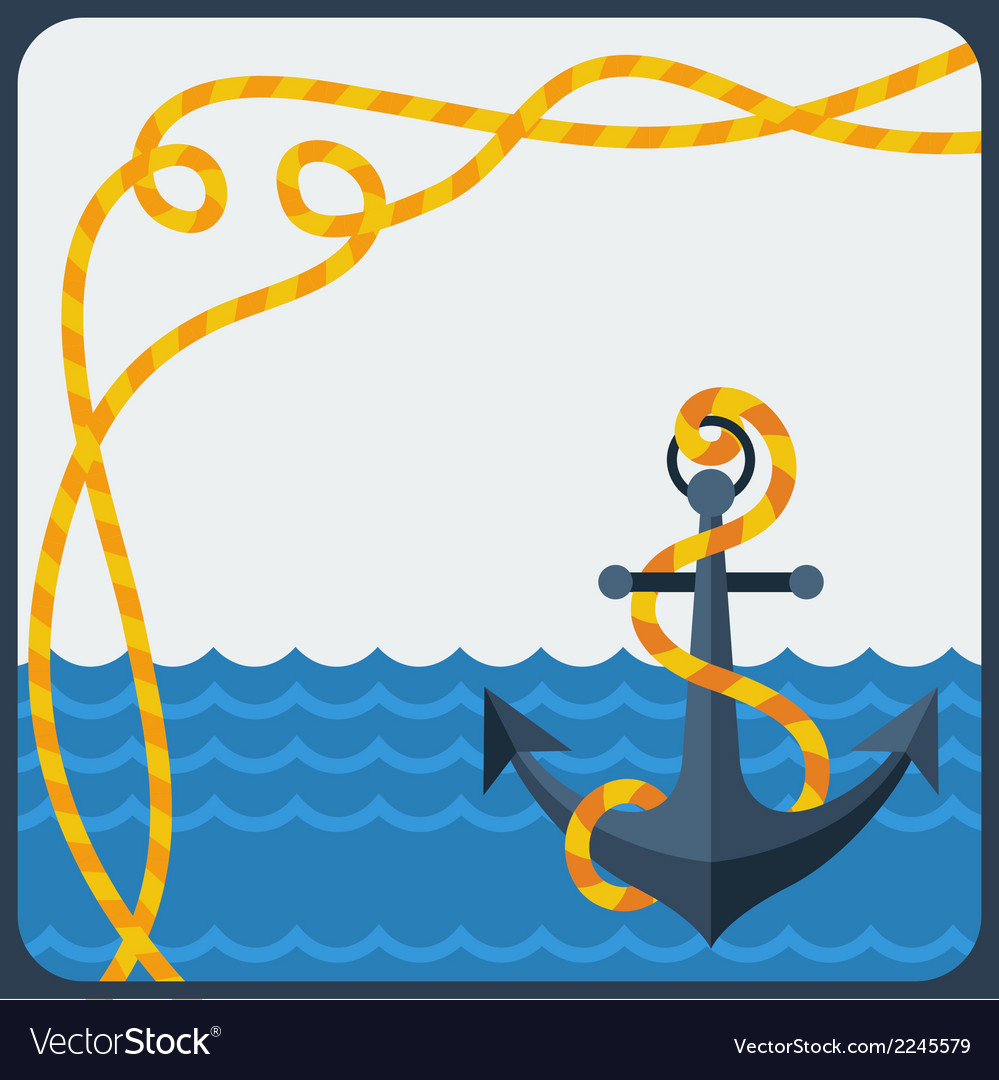 Nautical card with anchor and rope in flat design vector | Price: 1 Credit (USD $1)