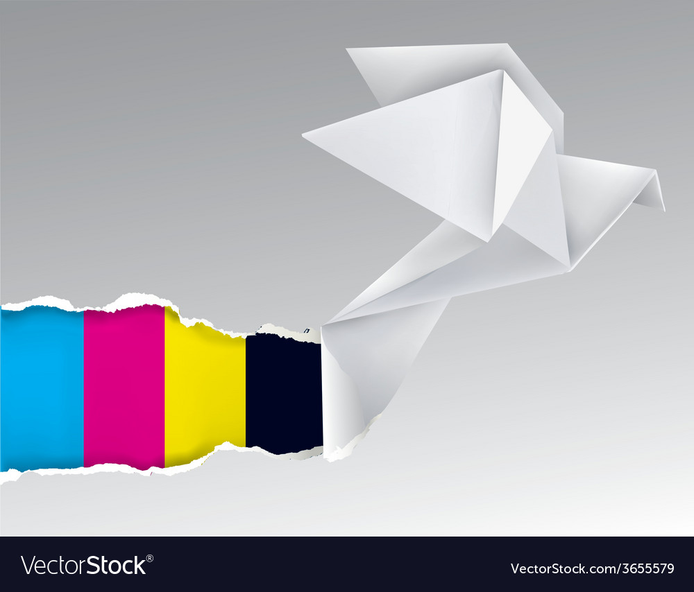 Origami bird ripping paper with print colors vector   Price: 1 Credit (USD $1)
