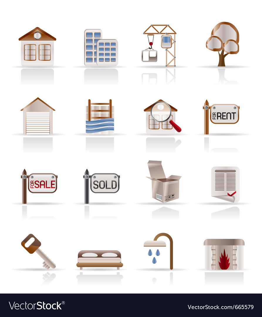 Real estate and building icons vector | Price: 1 Credit (USD $1)