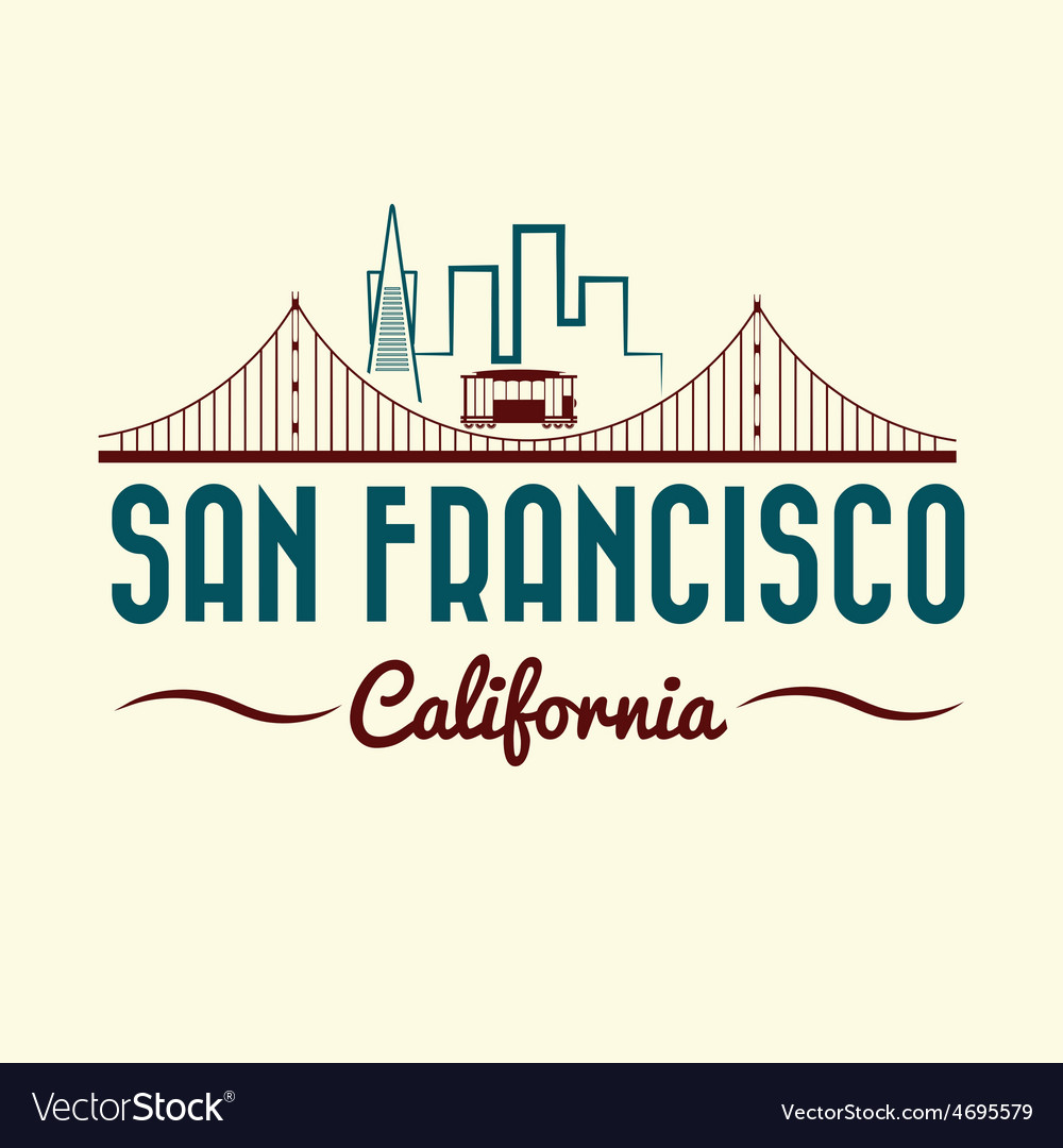 San francisco golden gate bridge and tram vector | Price: 1 Credit (USD $1)